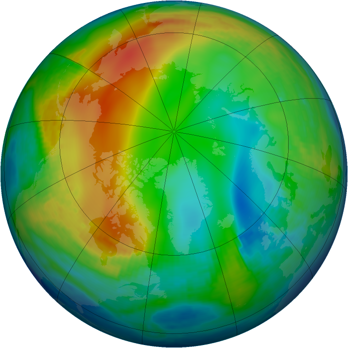 Arctic ozone map for 13 December 1984