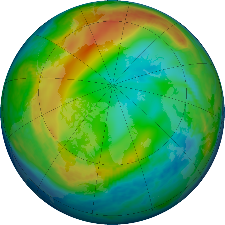Arctic ozone map for 20 December 1984