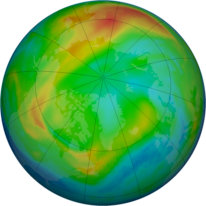 Arctic ozone map for 21 December 1984