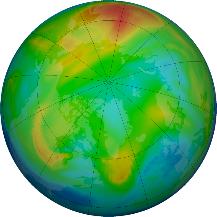 Arctic ozone map for 22 December 1984