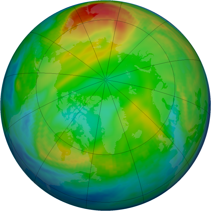 Arctic ozone map for 24 December 1984