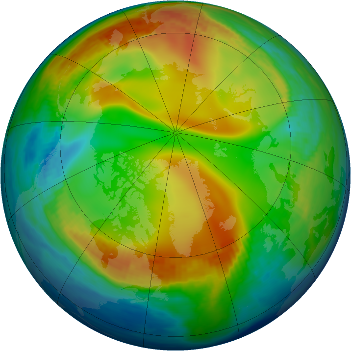 Arctic ozone map for 30 December 1984