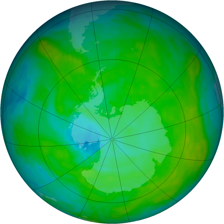 Antarctic ozone map for 02 January 1985