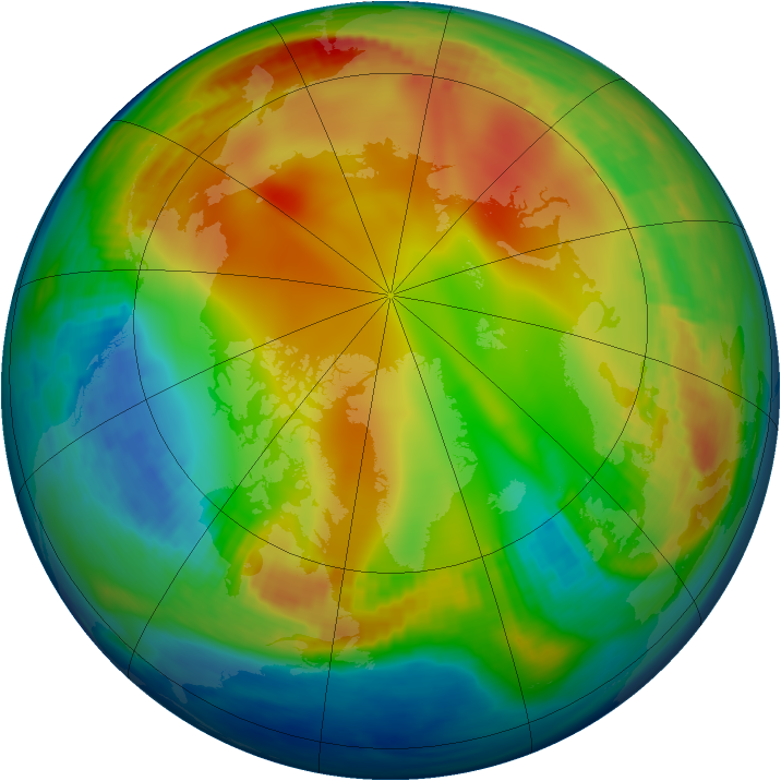 Arctic ozone map for 03 January 1985