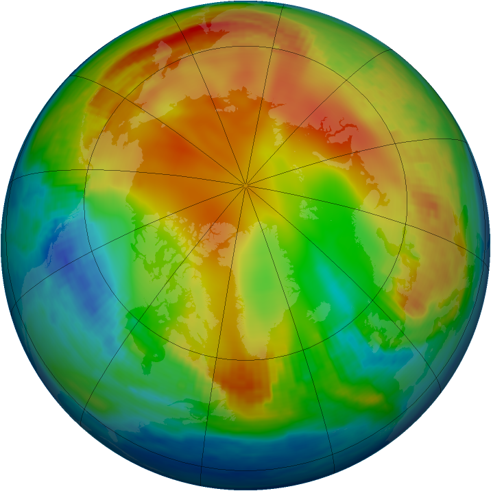 Arctic ozone map for 04 January 1985