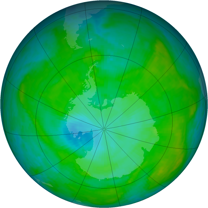 Antarctic ozone map for 04 January 1985
