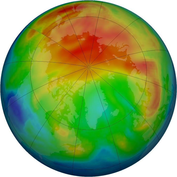 Arctic ozone map for 06 January 1985