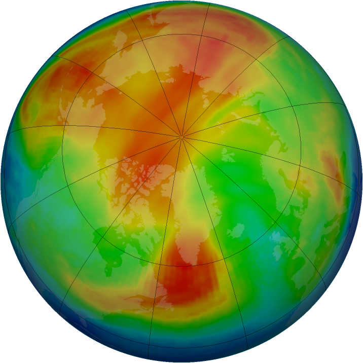 Arctic ozone map for 11 January 1985