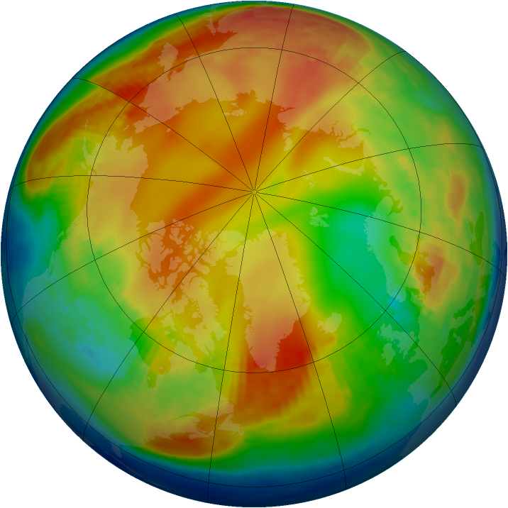 Arctic ozone map for 12 January 1985