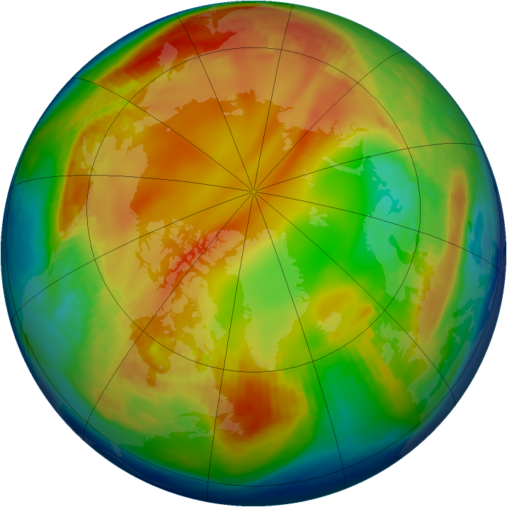 Arctic ozone map for 14 January 1985