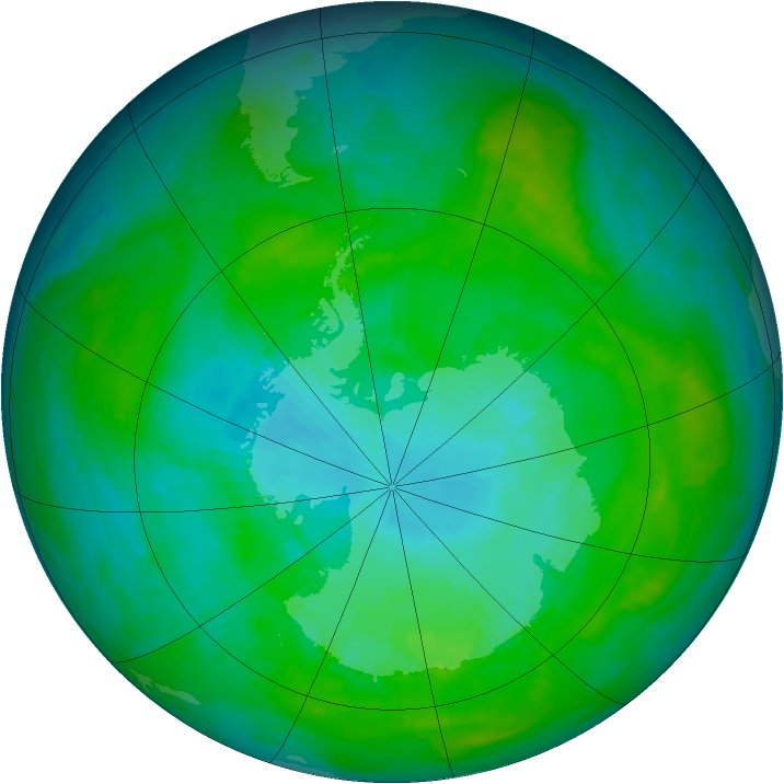 Antarctic ozone map for 14 January 1985