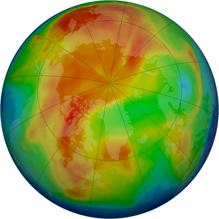 Arctic ozone map for 15 January 1985