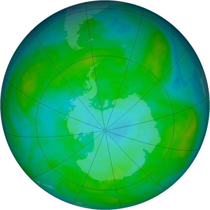 Antarctic ozone map for 15 January 1985