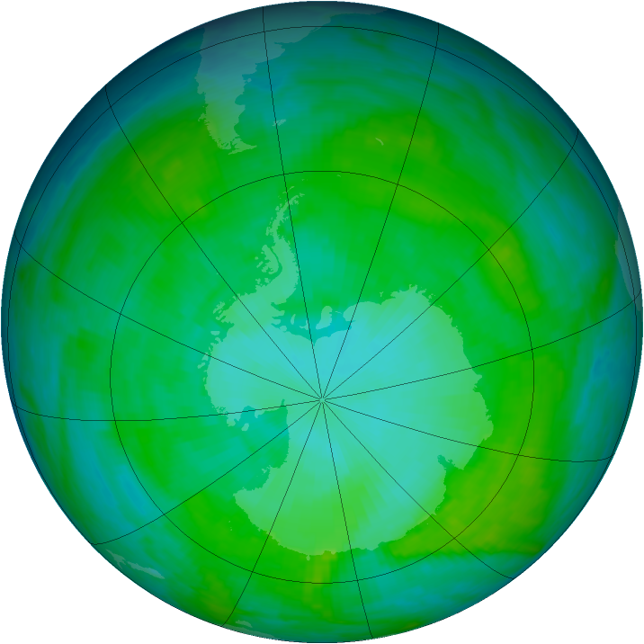 Antarctic ozone map for 18 January 1985