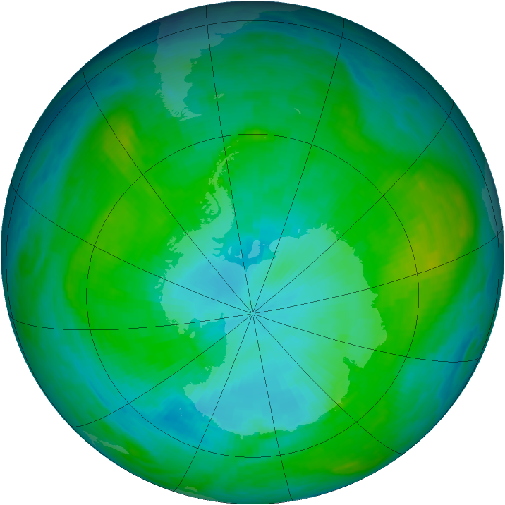 Antarctic ozone map for 23 January 1985