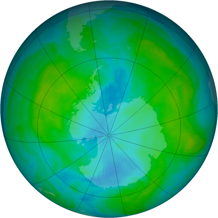 Antarctic ozone map for 25 January 1985