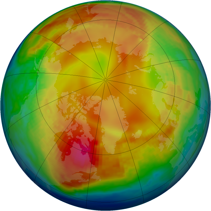 Arctic ozone map for 26 January 1985