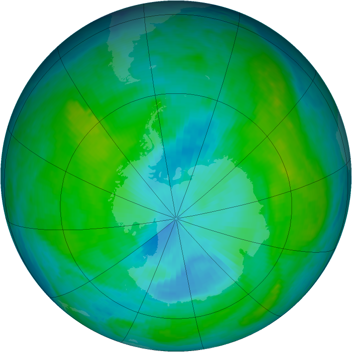 Antarctic ozone map for 27 January 1985