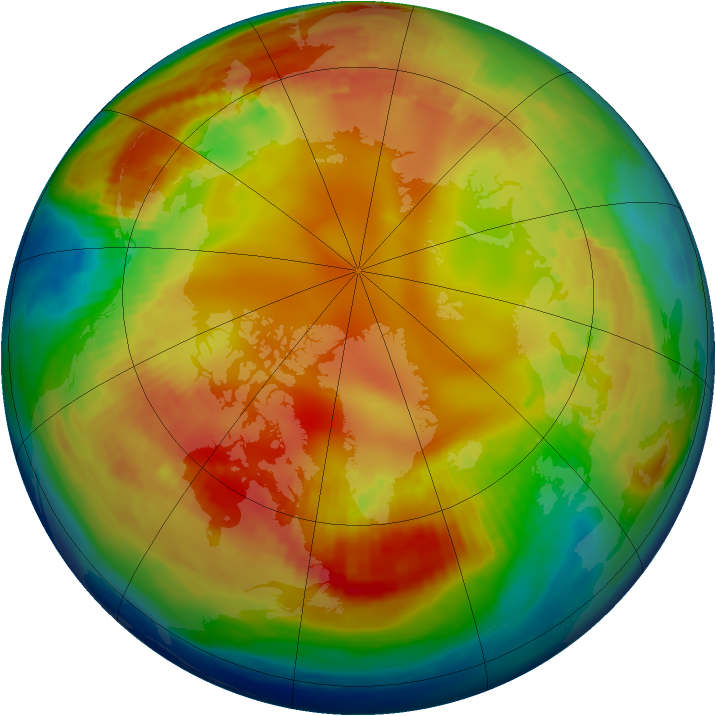 Arctic ozone map for 29 January 1985