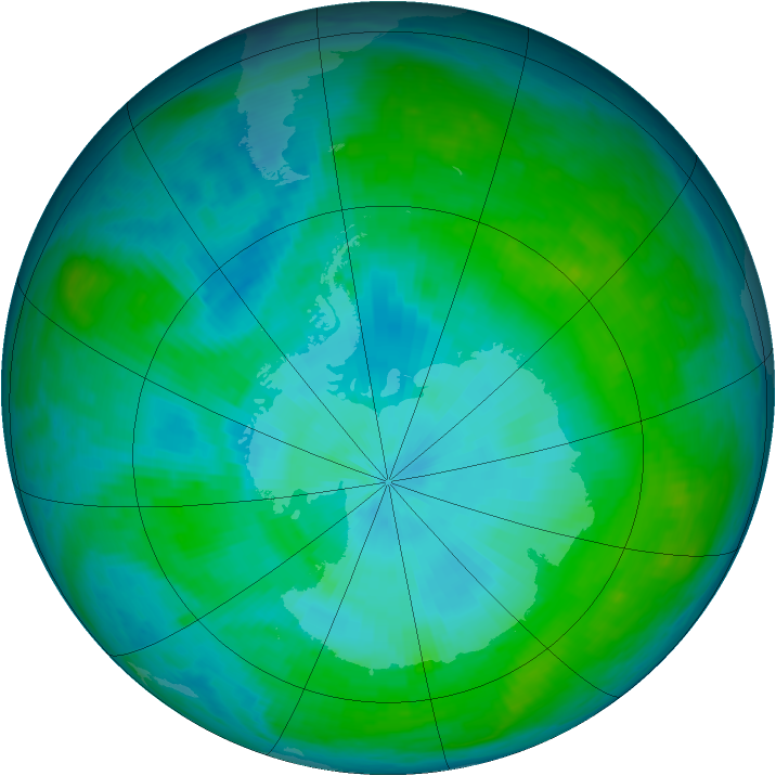 Antarctic ozone map for 04 February 1985