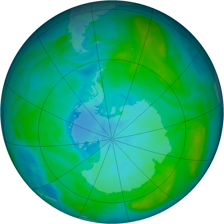 Antarctic ozone map for 07 February 1985