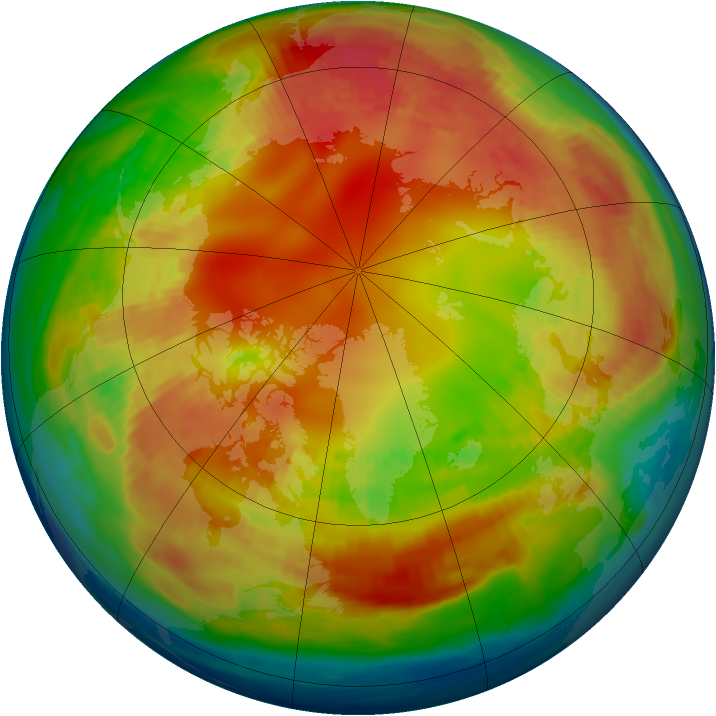 Arctic ozone map for 08 February 1985