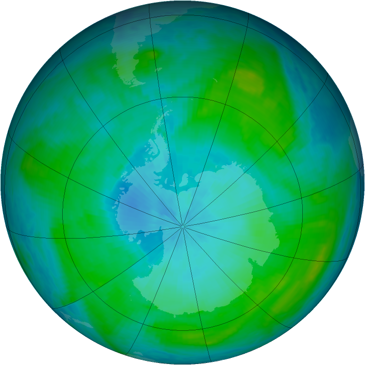 Antarctic ozone map for 08 February 1985