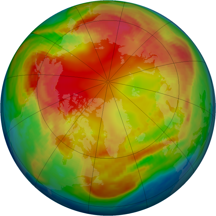 Arctic ozone map for 11 February 1985