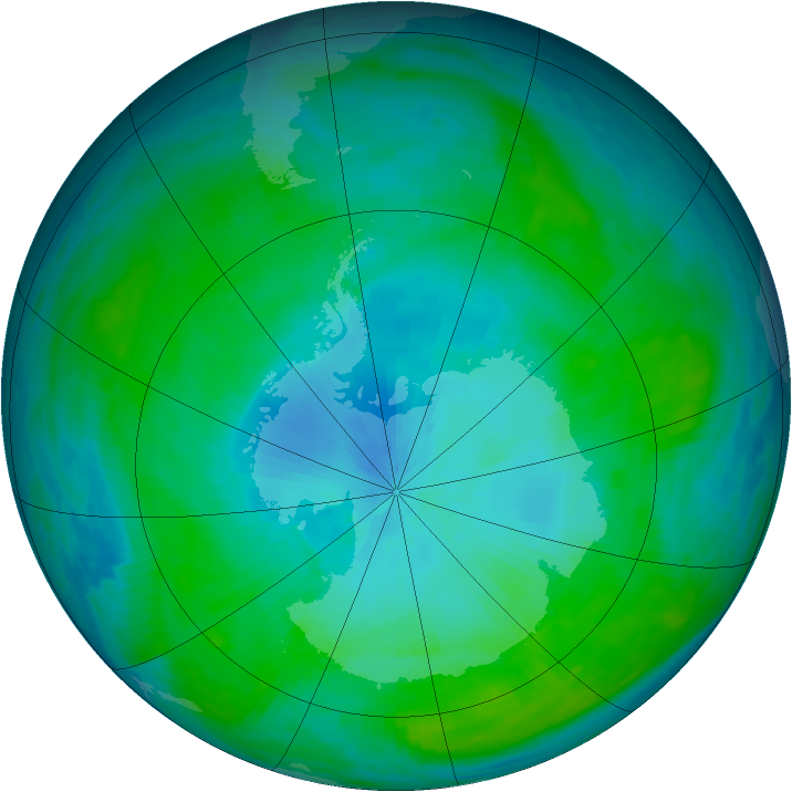 Antarctic ozone map for 11 February 1985