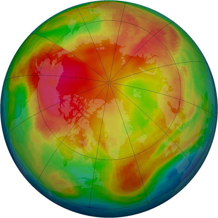 Arctic ozone map for 13 February 1985