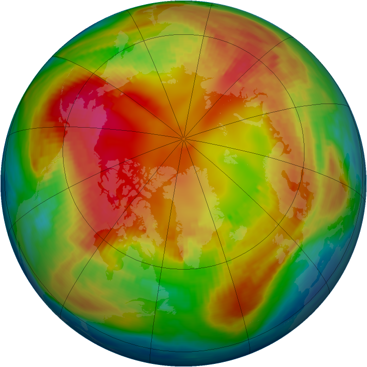 Arctic ozone map for 14 February 1985