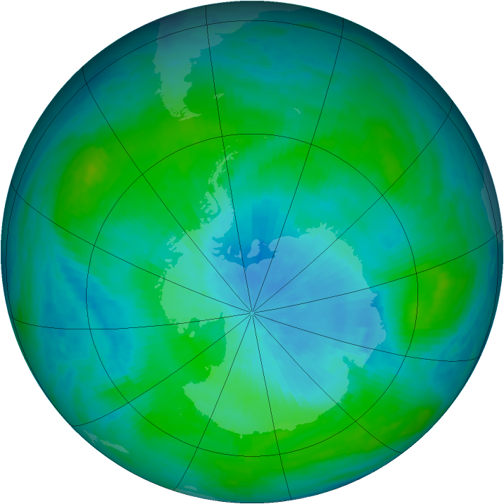Antarctic ozone map for 19 February 1985