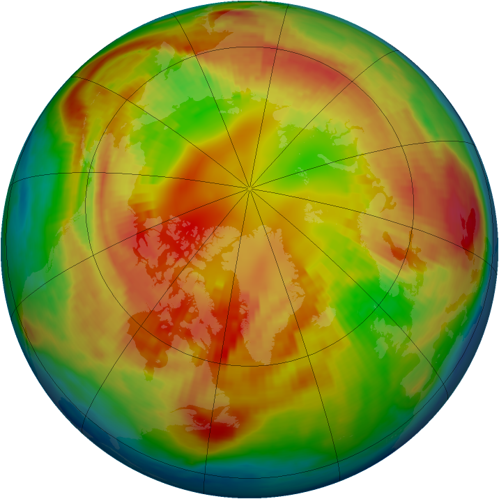 Arctic ozone map for 21 February 1985