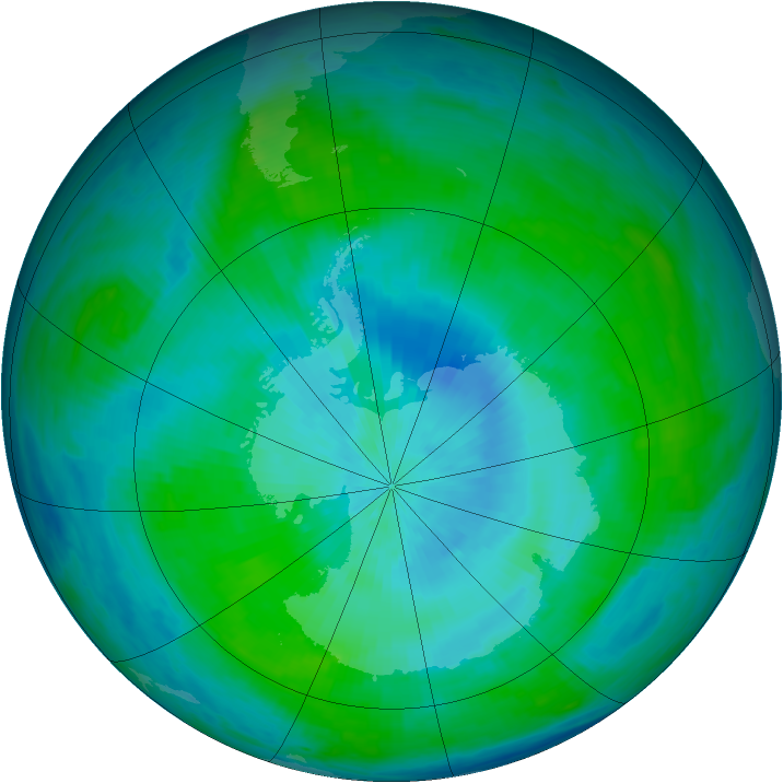 Antarctic ozone map for 25 February 1985