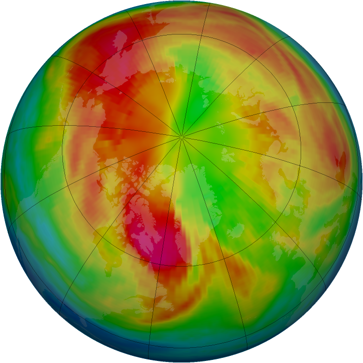 Arctic ozone map for 28 February 1985