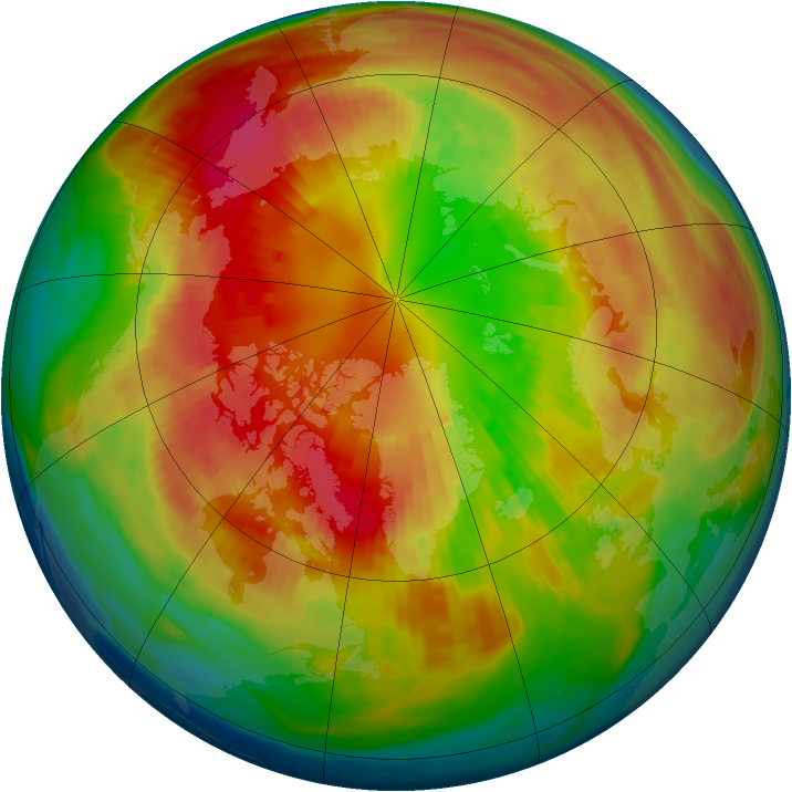 Arctic ozone map for 01 March 1985