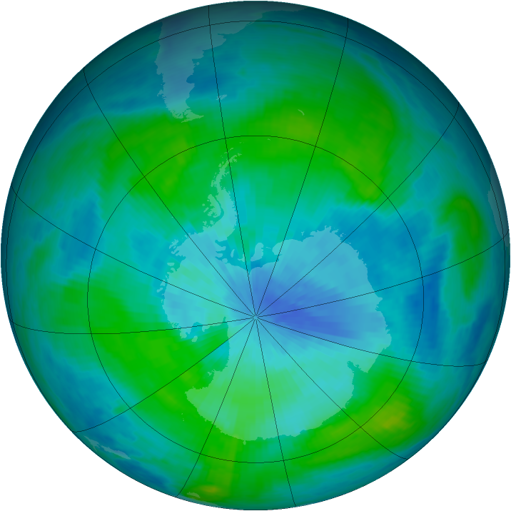 Antarctic ozone map for 04 March 1985