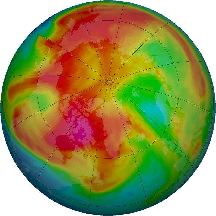 Arctic ozone map for 07 March 1985