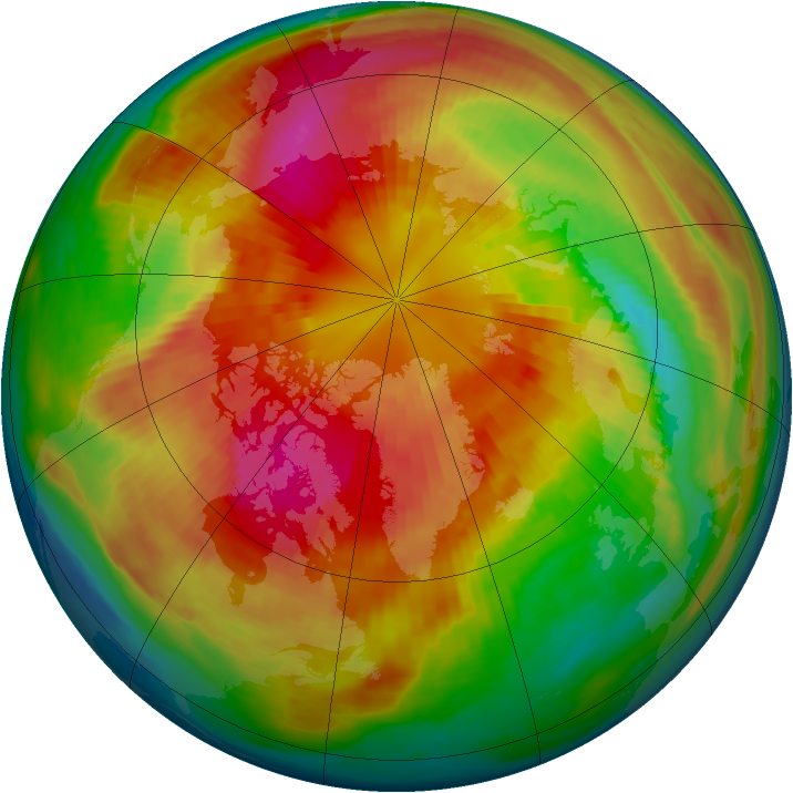 Arctic ozone map for 11 March 1985