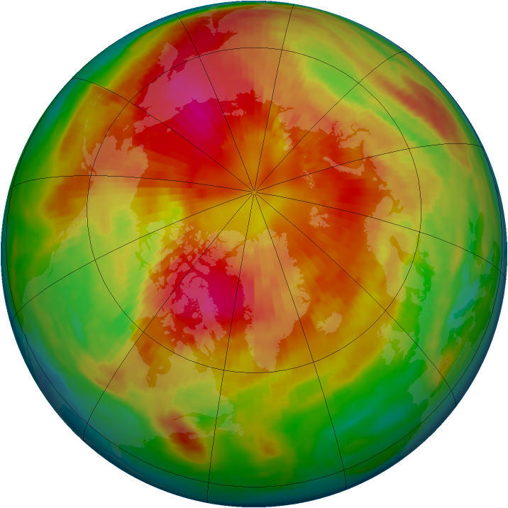 Arctic ozone map for 13 March 1985