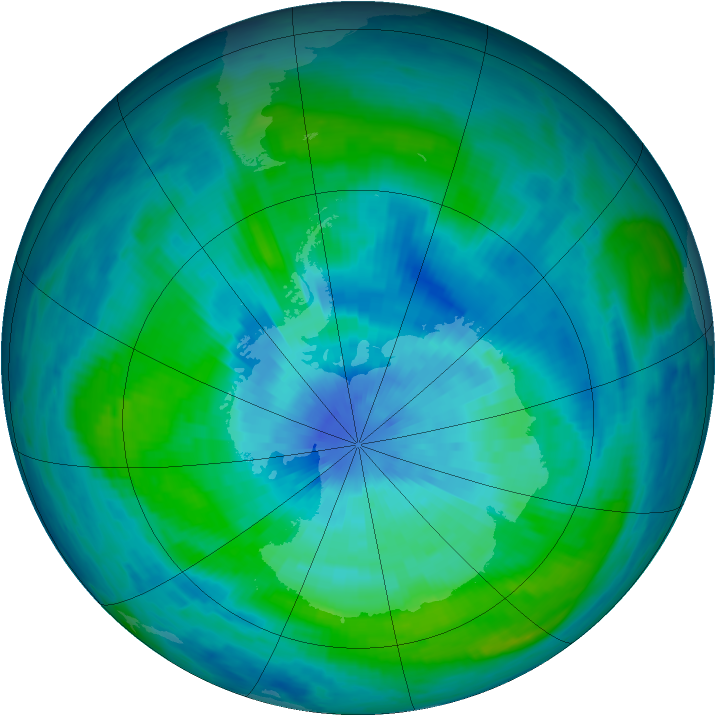 Antarctic ozone map for 15 March 1985