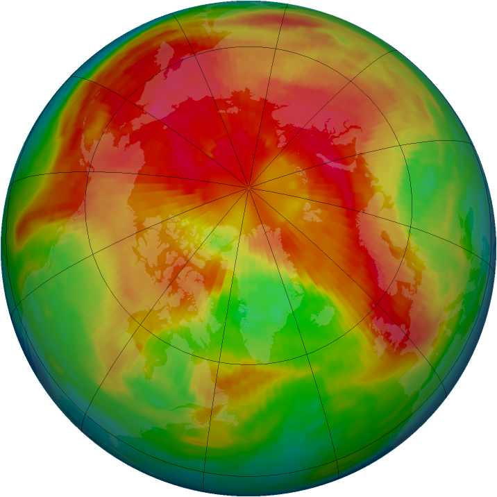Arctic ozone map for 16 March 1985