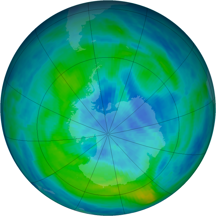 Antarctic ozone map for 18 March 1985