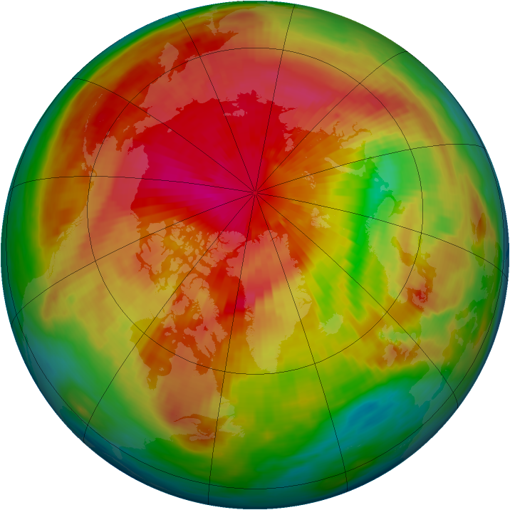 Arctic ozone map for 21 March 1985