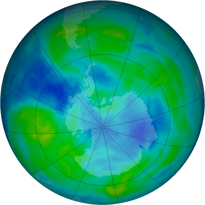 Antarctic ozone map for 22 March 1985