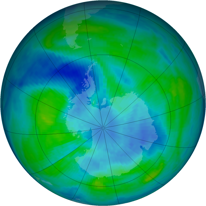 Antarctic ozone map for 23 March 1985