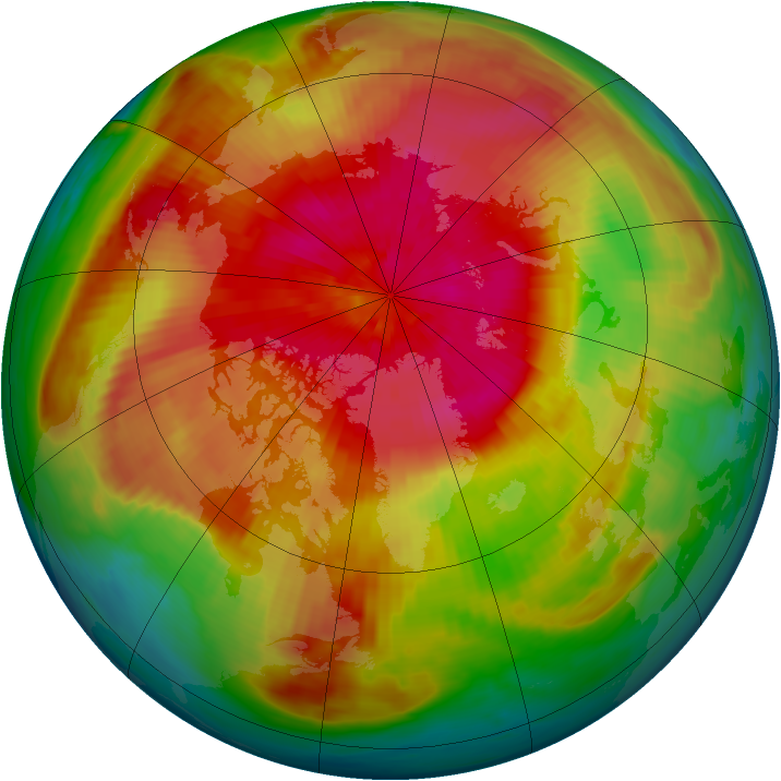Arctic ozone map for 26 March 1985