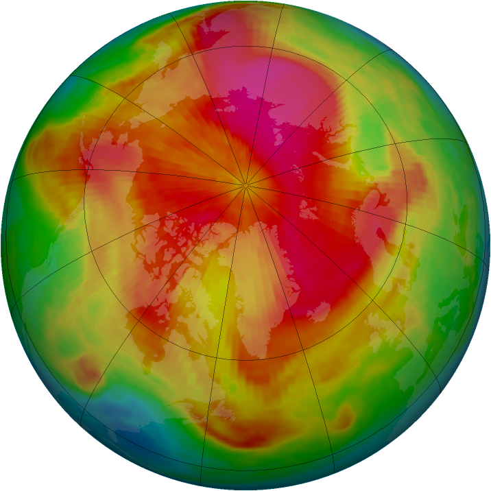 Arctic ozone map for 31 March 1985