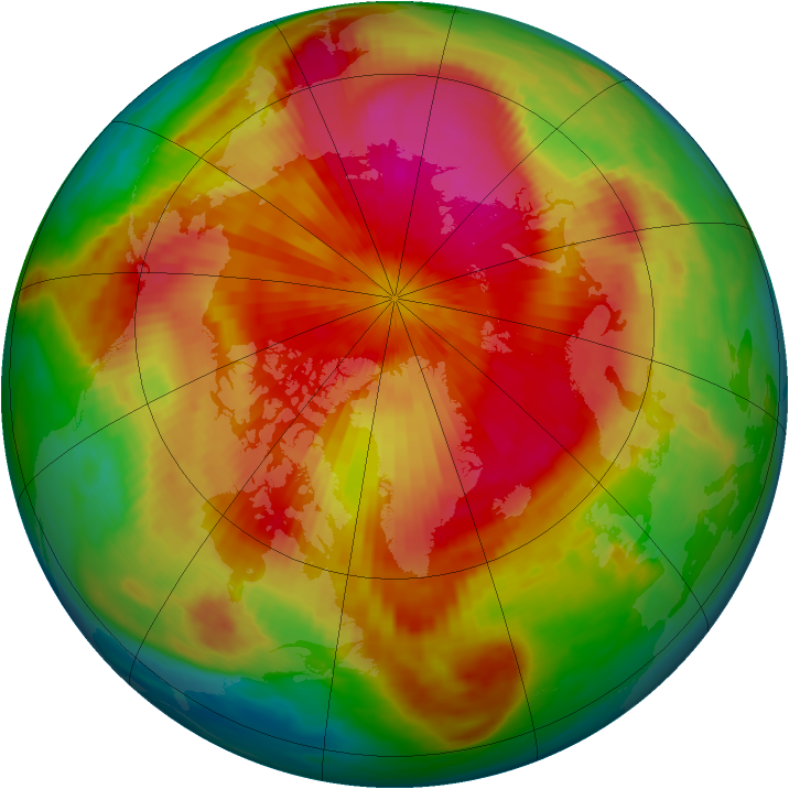 Arctic ozone map for 01 April 1985