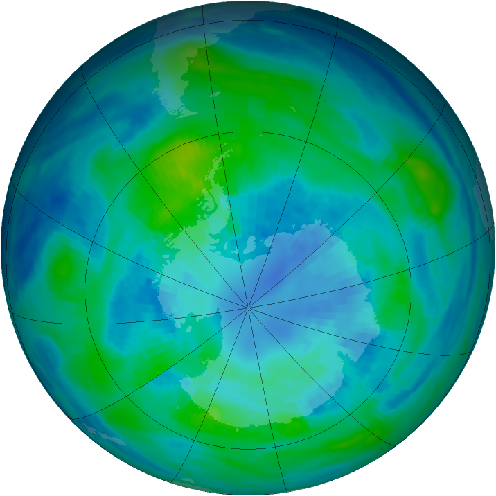 Antarctic ozone map for 03 April 1985